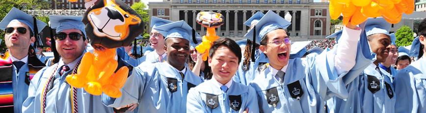 Photograph of happy graduating students at Columbia University Commencement 2018