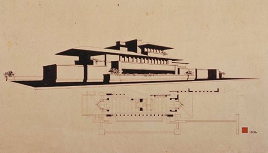 Frederick C. Robie residence, 1909. Courtesty of The Frank Lloyd Wright Foundation Archives (The Museum of Modern Art | Avery Architectural & Fine Arts Library, Columbia University, New York)