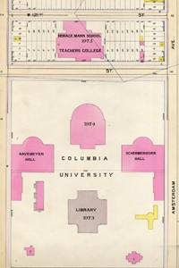Morningside Campus, early years, ca. 1898. Atlas of the City of New York, borough of Manhattan. Philadelphia: G. W. Bromley, 1898-1899. (Avery AA9127 N4 B78 FF)