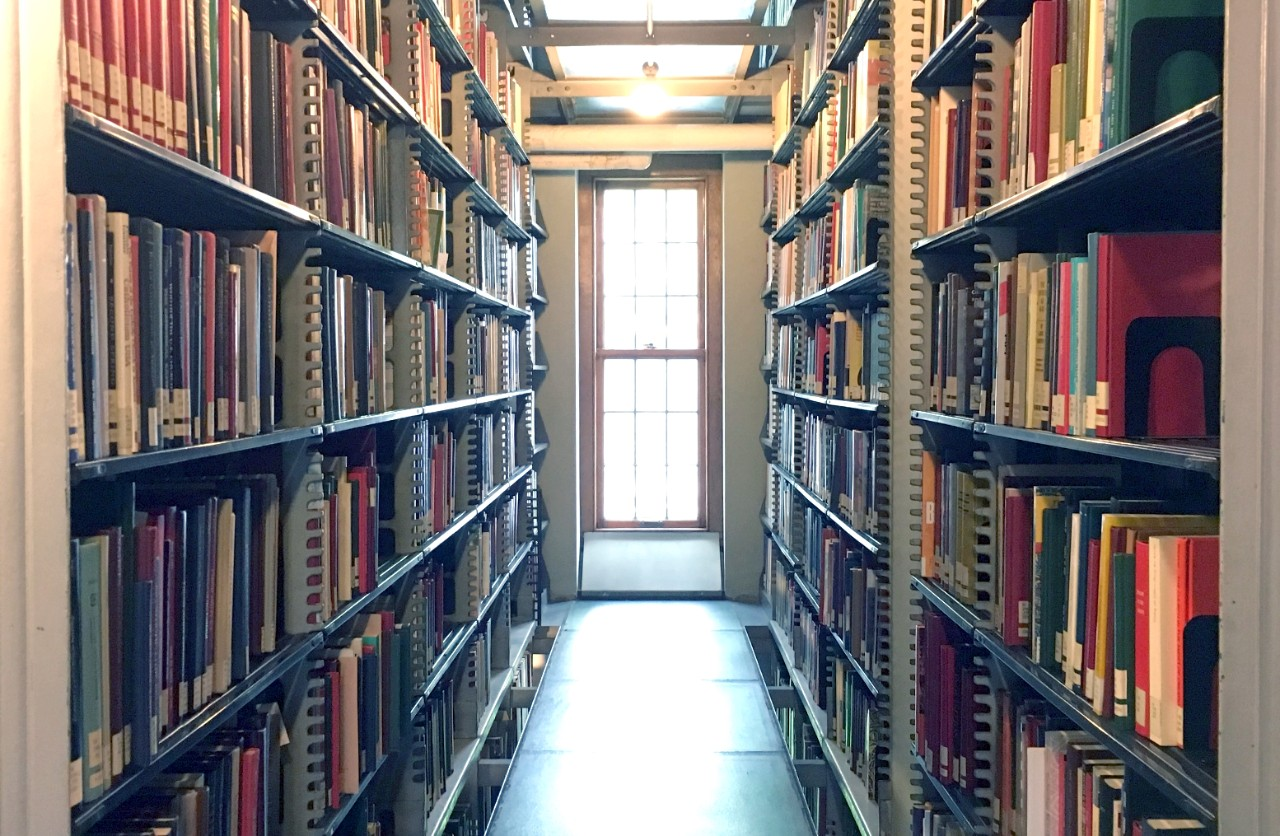 image of a typical area of the stacks in the Burke Library