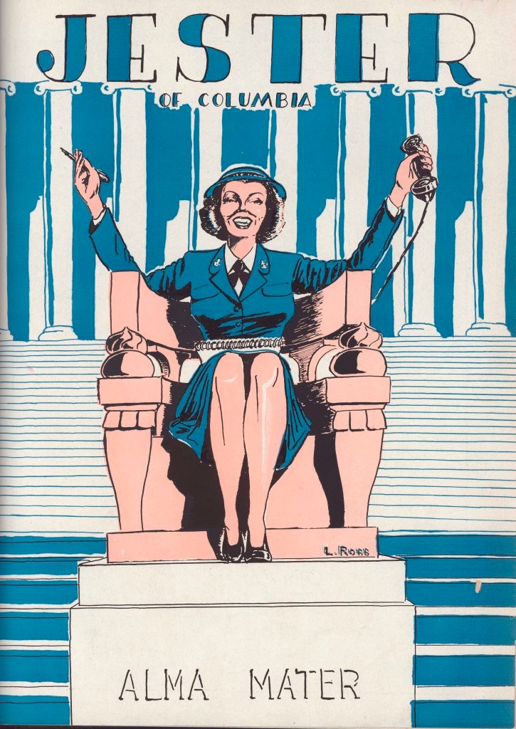 Cover of Jester (1945) depicting Alma Mater as a servicewoman.