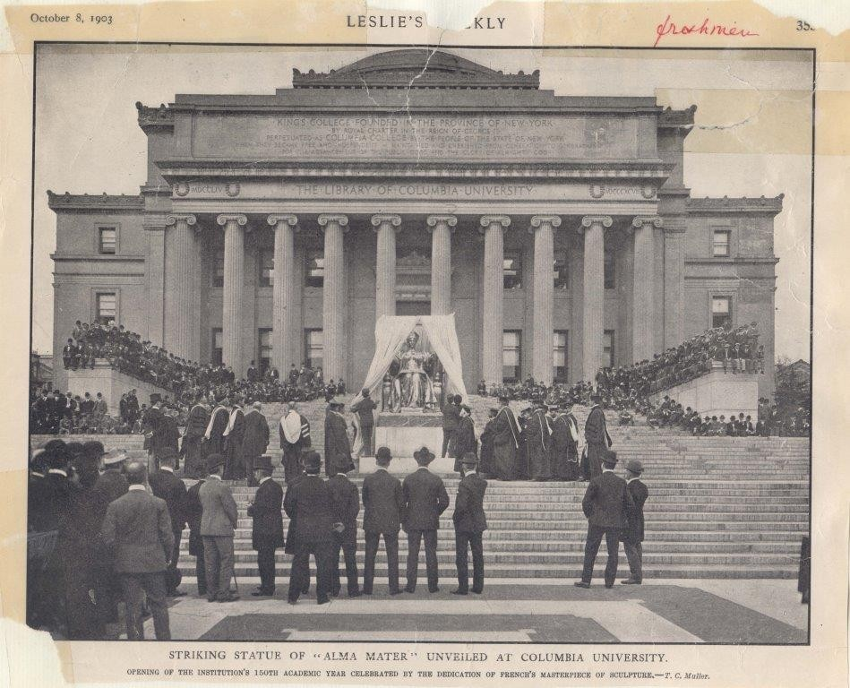 Clipping from periodical depicting the unveiling of the Alma Mater statue.