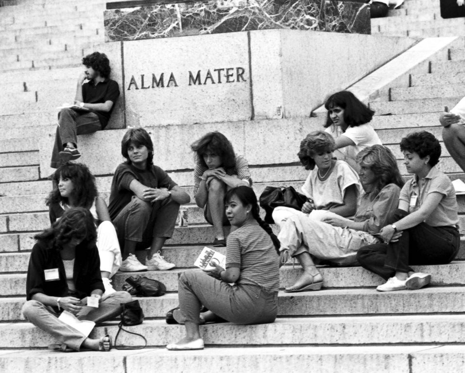 Columbia College freshmen women on the Low Library steps, August 29, 1983.