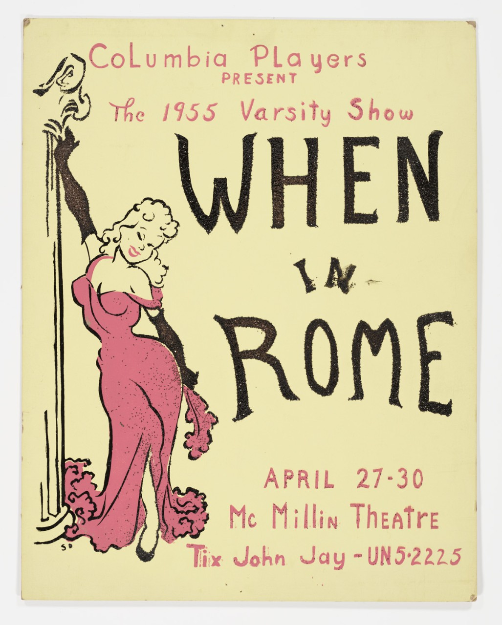 "Original poster for 1955 Varsity Show ""When in Rome"""