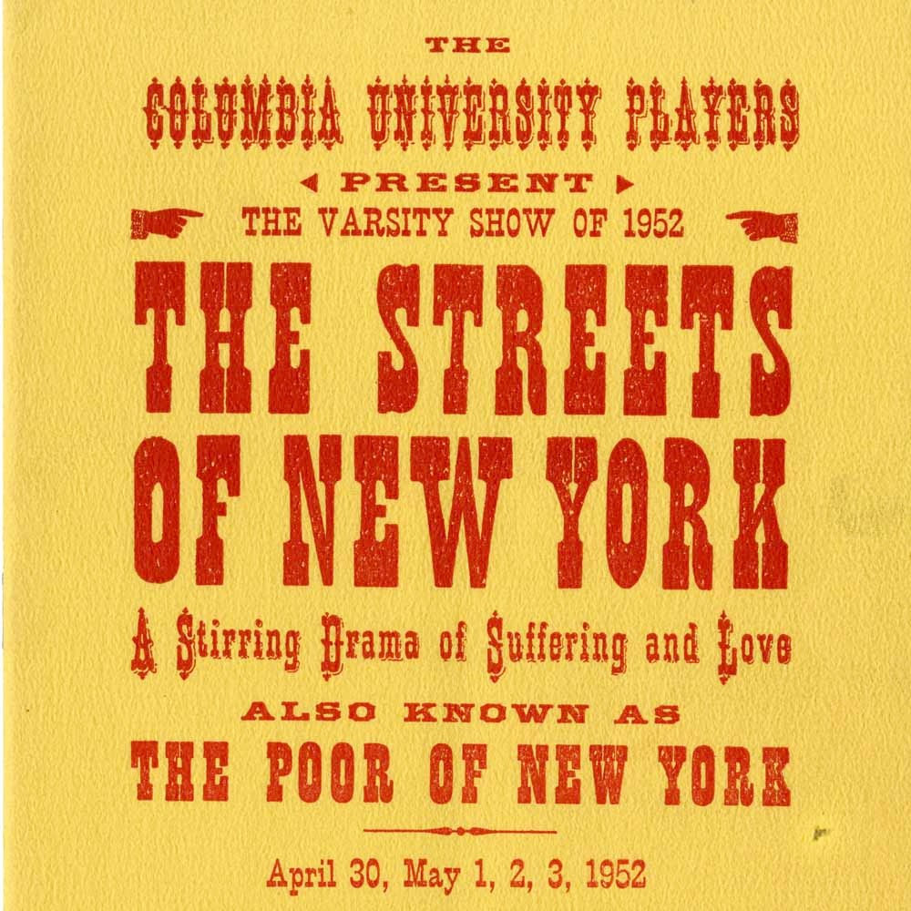 The Streets of New York (1952) program cover