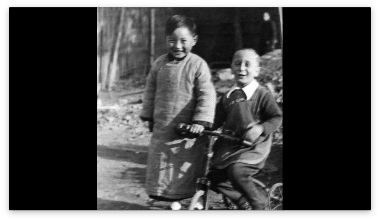 AboveStill3 Zhang Yongpei and his refugee friend Freddie in Shanghai, 1940