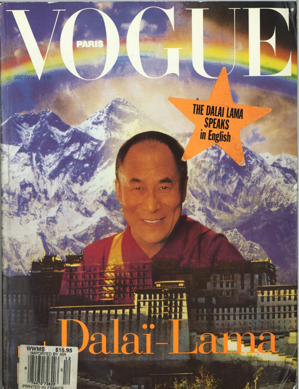 Dalai Lama on the cover of Vogue Magazine