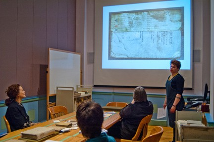 Mellon Conservator for Special Collections Jennifer Jarvis Lecturing on the History of Bookbinding in January